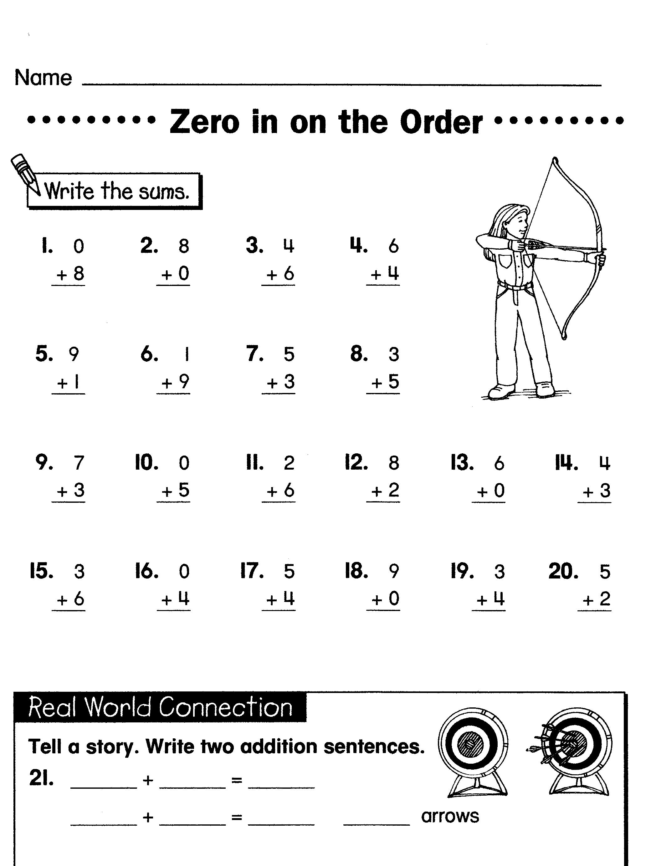 Worksheet 604780 Printable Worksheets Math Free Math – Math for Grade 1 Printable Worksheet